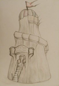Helter Skelter Pencil and Pen 30 cm X 41 cm Price Unframed £25
