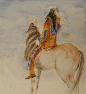 Morning Ride Watercolour 41 cm X 12 NFS