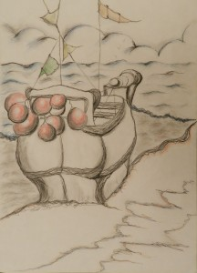 Ship Ahoy Pen Watercolour and Pencil 29 cm X 41 cm Price Unframed £30